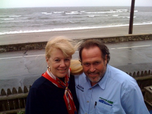 Gail Cunningham Coen and Mayor Tommy Longo