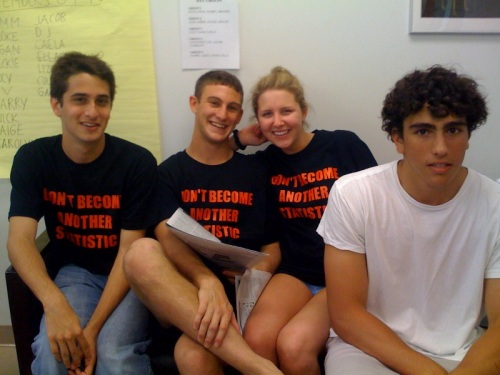 "Nick Cion, Harry Rappaport, Jackie Dimitrief and Jacob Levi. Their TAG shirts say ""Don't become another statistic."""