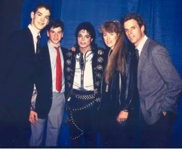 Trevor, Davis, Gail and Terry Coen, with Michael Jackson