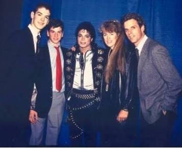 Trevor, Davis, Gail and Terry Coen, with Michael Jackson