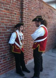 What do fife and drum members do before marching at the Compo fireworks? Have intense discussions, apparently.