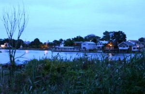 The Mill Pond as seen from host Jim Pendry's deck, as night falls during the fundraiser.