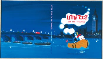 "Westport artist Hardie Gramatky donated this ""Little Toot"" book cover to the Westport Schools Permanent Art Collection."