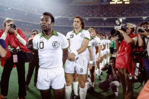 Pele and Giorgio Chinaglia were 2 of the North American Soccer League's superstars
