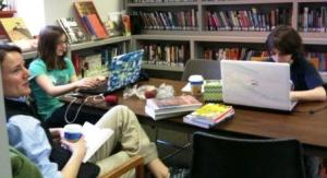 With only laptops, coffee, books and food to sustain them, families huddled together for comfort in the Westport Public Library.