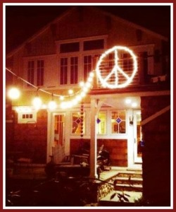 A peace sign, on a house near Compo Beach.