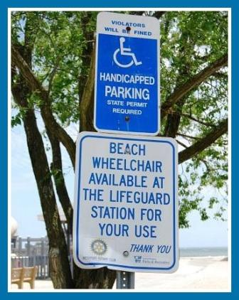 Beach wheelchair sign