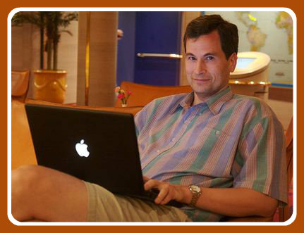 David Pogue, hard at work. Did you know that if you open a laptop, you can access all of its features?