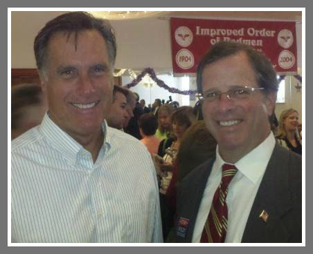 Bob Zappi (right) and Mitt Romney.