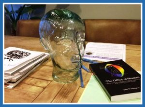 A glass brain sits in the iFloat conference room.