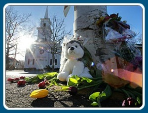 Newtown looks like Westport did years ago. This week, though, there are poignant memorials all around town.