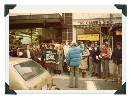 George Weigle conducts the Orphenians on Main Street, circa 1981.