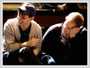 """Ben Pasek (left) and Justin Paul, deep into their """"24-Hour Musical."""" (Photo by Kerry Long)"""