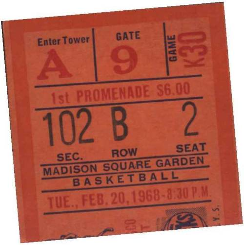 "The cover, as it appears on iTunes. It's a ticket stub from a game Fred went to the 1st week the new Madison Square Garden opened. Fred  Cantor calls Tyson Chandler ""a throwback"" to that era of championship NY Knick teams."