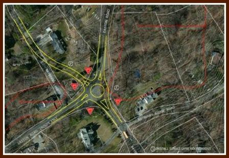 Long-term alternative #2. You can see the outline of the roundabout in the center, and the new entrance to Bayberry Lane Extension just north of it. (Courtesy of Milone & MacBroom)