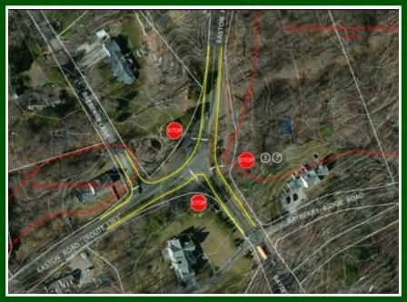Near-term alternative #1, showing placement of 3 stop signs. (Courtesy of Milone & MacBroom)