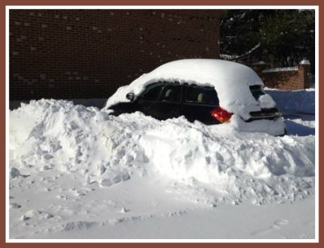 This is what happens when you leave your car in the post office parking lot overnight in a blizzard.