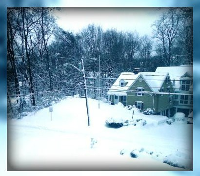 Normally busy Evergreen Avenue is completely snow-swept, in this photo by Jill McGroarty.