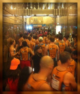The crowded scene at the start of the Empire State Building Run Up.