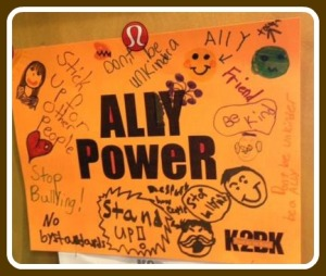 """One of the posters, advocating kindness """"Ally Power."""""""