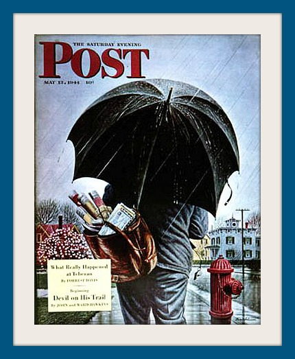 """Westport artist Stevan Dohanos used his home town as models for this May 13, 1944 Saturday Evening Post cover called """"Mailman."""""""