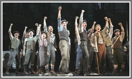 "The ""Newsies"" cast. Adam Kaplan joins them next Tuesday."