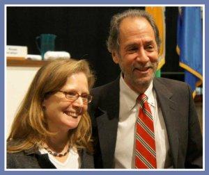 Hadley Rose with Eileen Flug, deputy moderator. She succeeds him as RTM moderator. (Photo by Paul Schott for Westport News)