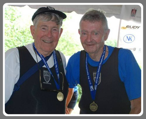 Mike Pettee (left) and Paul Green -- octagenarian rowing champs!