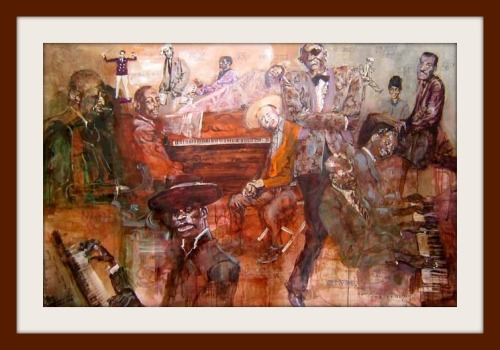 """Blues Piano Players"" -- one of the 7 wonderful works by Eric von Schmidt that make up ""Birth of the Blues."" They hang in the Staples auditorium."