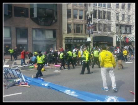 """the immediate aftermath of today's explosion. Boston Globe reporter Steve Silva posted this photo on Facebook, with the caption, """"God help us."""" (Courtesy Business Insider)"""