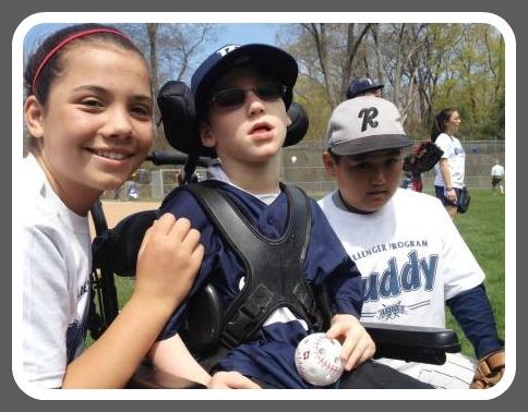 Challenger player Jack Theriault has a ball, with buddies Natalie Schenck and Luke Yokai.