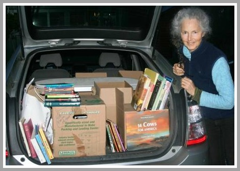 Sherry Jagerson, with a car full of books.