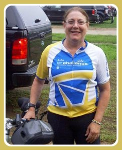 Amy Kaplan, with her bike.