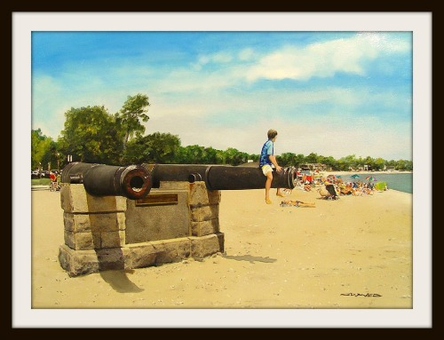 For over 100 years, the cannons have been a Compo Beach icon. This painting is by Thomas N. Graves.