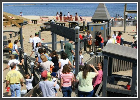It's a full house at the Compo Beach playground.