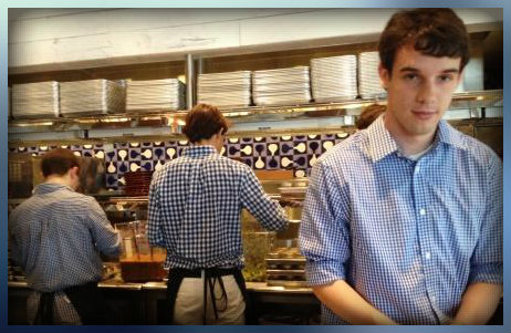 Ben Root and a large staff prepped in the open kitchen for large crowds.