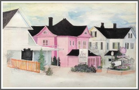 The pink Ice Cream Parlor on the Post Road, painted by Gabrielle Dearborn. It's now a non-pink office building.