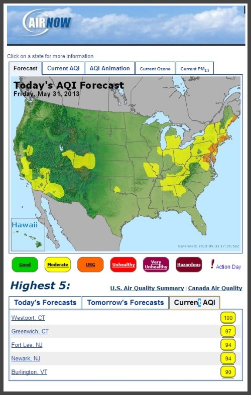 Air quality May 31, 2013