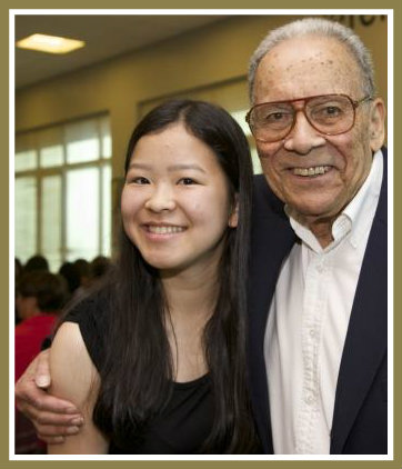 Dr. Al Beasley poses with Megumi Asada, a graduating senior who received the Dr. Jean Beasley Memorial Award. Both Dr. Beasleys were beloved pediatricians; Megumi is considering a career in medicine.