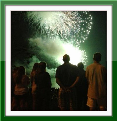 Everyone has a favorite spot to watch the fireworks. This was the scene last year at the Schlaet's Point jetty, where Soundview intersects with Hillspoint Road.