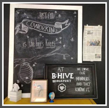 The funky welcome at B:Hive Bridgeport.