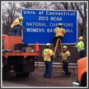 UConn got a huge sign on I-84, just for winning the women's NCAA basketball title.