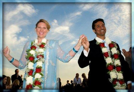 Kerstin and Vijay walking back down the aisle. The ceremony included both American and Hindu traditions. (Photo/Katherine Hooper)