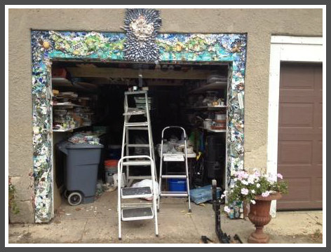 Claudia Schattman's garage mosaic: a work in progress.