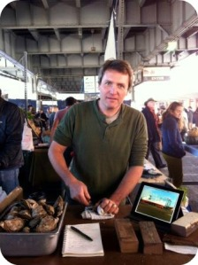 Jean Paul Vellotti, taking knife orders at the New Amsterdam Market.