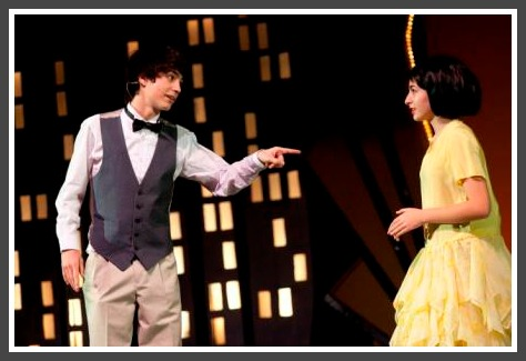 "Nick Ribolla (Jimmy Smith) and Julia Mandelbaum (Millie), in Bedford Acting Group's ""Thoroughly Modern Millie."" (Photo/Kerry Long)"