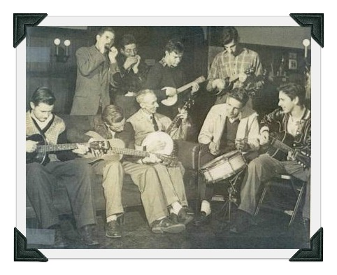 "Doc Doubleday playing banjo, with Westport teenagers. Eric (""Rick"") von Schmidt -- who went on to great fame as a folk singer -- is the guitarist on the right."