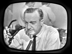 Walter Cronkite on CBS, announcing the death of President Kennedy.