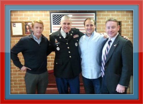 Celebrating Veterans Day yesterday at Joel Barlow High School *(from left): Calvin Wauchope, Rich Franzis, Pat Scott and Dan Geraghty