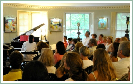A piano performance is just part of one salon.